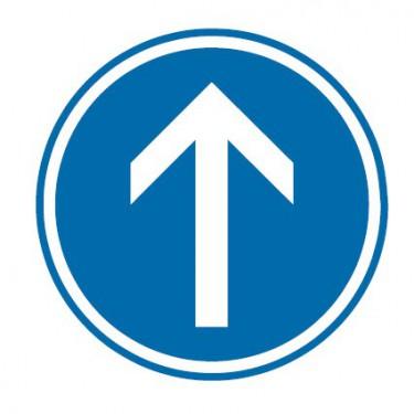 Panneau Obligation d'aller tout droit - B21b