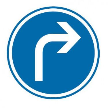 Panneau routier-type B Obligation  - B21c1 direction obligatoire à la prochaine intersection : droite - Signalétique Express