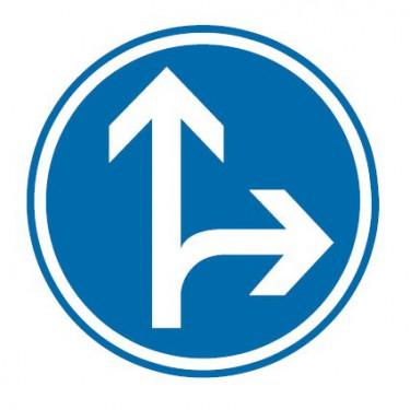 Panneau routier-type B Obligation  - B21d1 direction obligatoire à la prochaine intersection : tout droit ou à droite