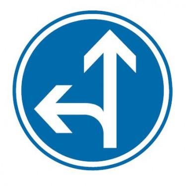 Panneau Direction obligatoire tout droit ou à gauche - B21d2
