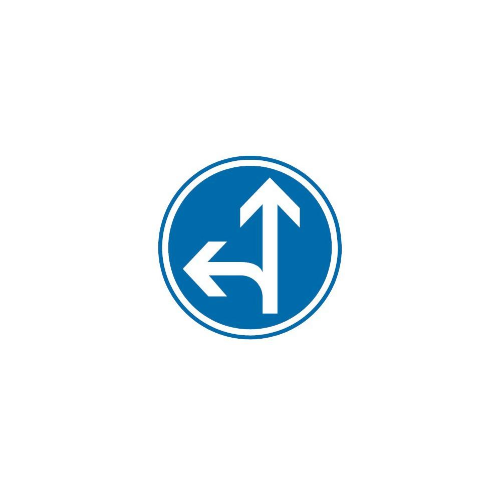 Panneau routier-type B Obligation  - B21d2 direction obligatoire à la prochaine intersection : tout droit ou à gauche