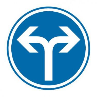Panneau routier-type B Obligation  - B21e direction obligatoire à la prochaine intersection : à gauche ou à droite