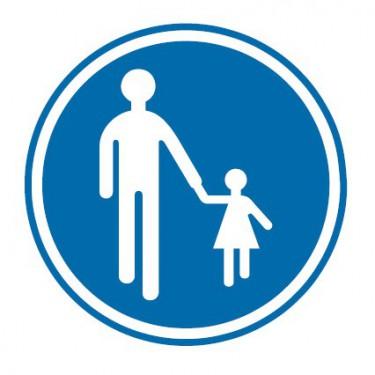 Panneau routier-type B Obligation  - B22b chemin obligatoire pour piétons - Signalétique Express