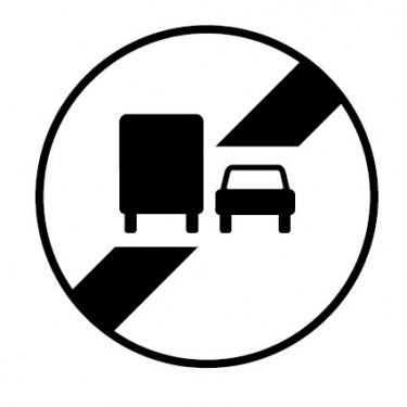 Panneau routier-type B interdiction  - B34a fin d'interdiction de dépasser annoncée par le panneau B3a - Signalétique Express