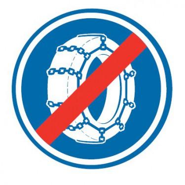 Panneau Fin d'obligation de l'usage des chaînes à neige - B44