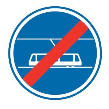 Panneau Fin de voies reservée aux tramways - B45b