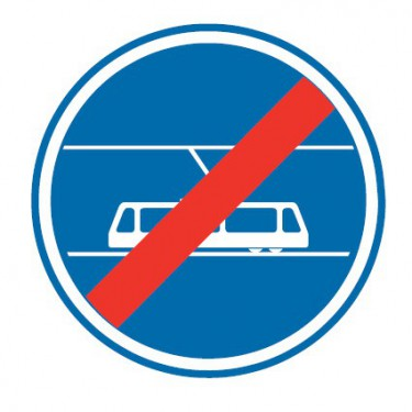 Panneau routier-type B Obligation  - B45b fin de voies reservée aux tramways - Signalétique Express