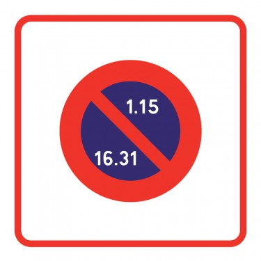 Panneau routier-type B Zones de circulation  - B6b2 zone à stationnement unilatéral à alternance semi-mensuelle