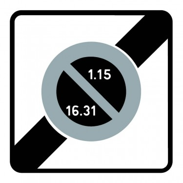Panneau Fin de zone à stationnement en alternance semi-mensuelle - B50b