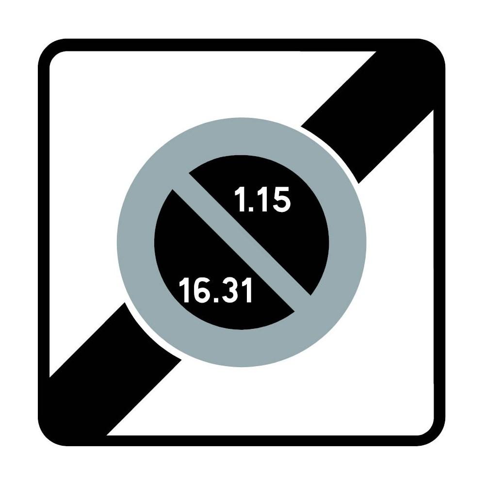 Panneau routier-type B Zones de circulation  - B50b fin de zone à stationnement unilatéral à alternance semi-mensuelle