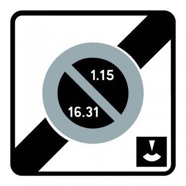 Panneau B50e fin de zone à stationnement unilatéral à alternance semi-mensuelle et à durée limitée contrôlée