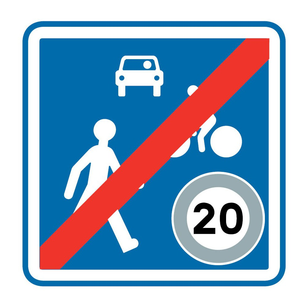 Panneau routier-type B Zones de circulation  - B53 fin d'une zone de rencontre - Signalétique Express