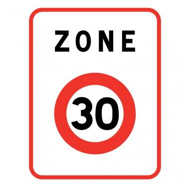 Panneau B30 annonce une zone où la vitesse est limitée à 30 km/h