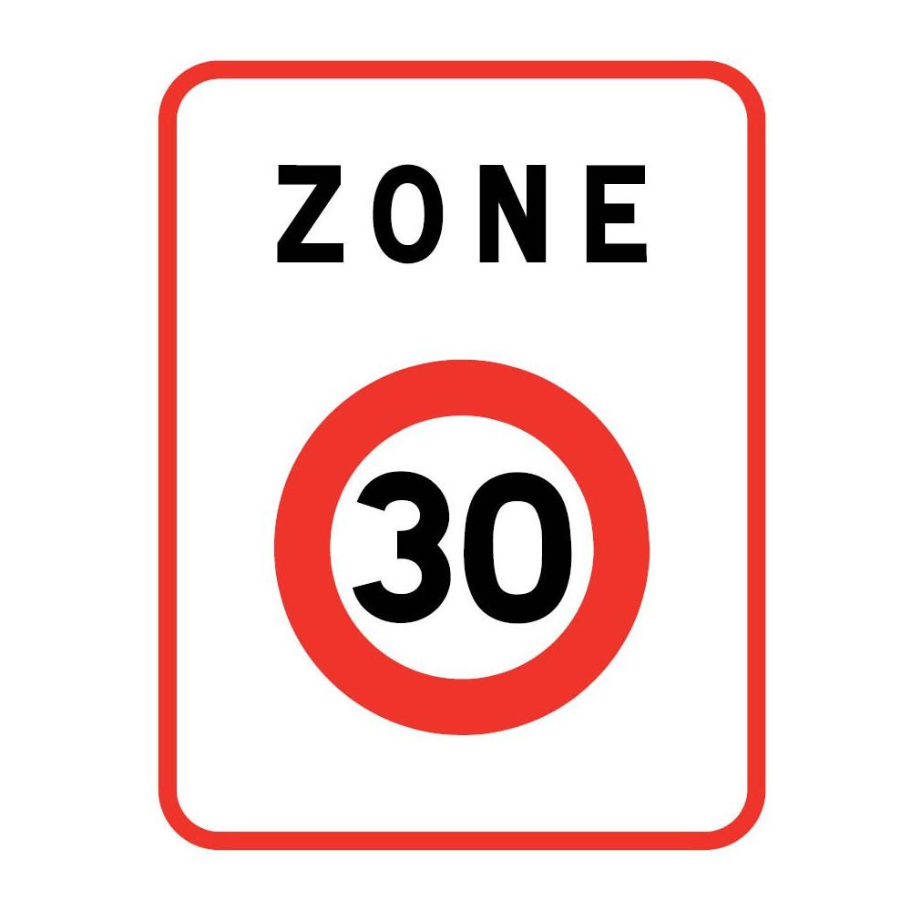 Panneau routier-type B Zones de circulation  - B30 annonce une zone où la vitesse est limitée à 30 km/h - Signalétique Express