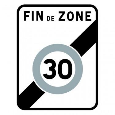 Panneau B51 annonce la fin d'une zone où la vitesse est limitée à 30 km/h