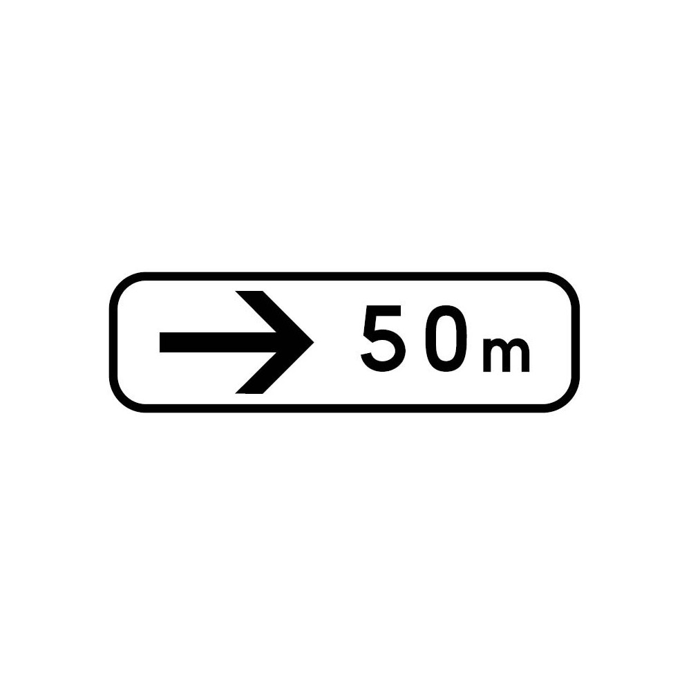 Panonceau Direction à suivre droite avec distance personnalisable - M3b3