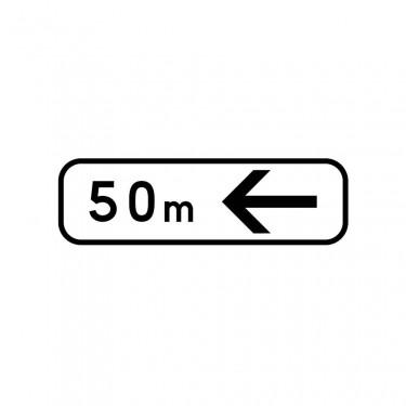 Panonceau Direction à suivre gauche avec distance personnalisable - M3b4