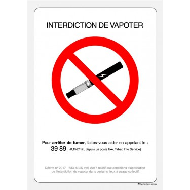 Panneau Interdiction de vapoter officiel