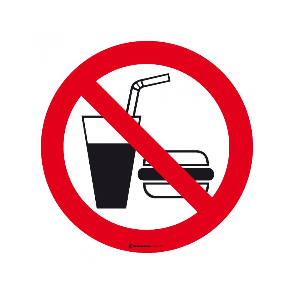 Panneau Interdiction de boire ou de manger - hamburger et soda