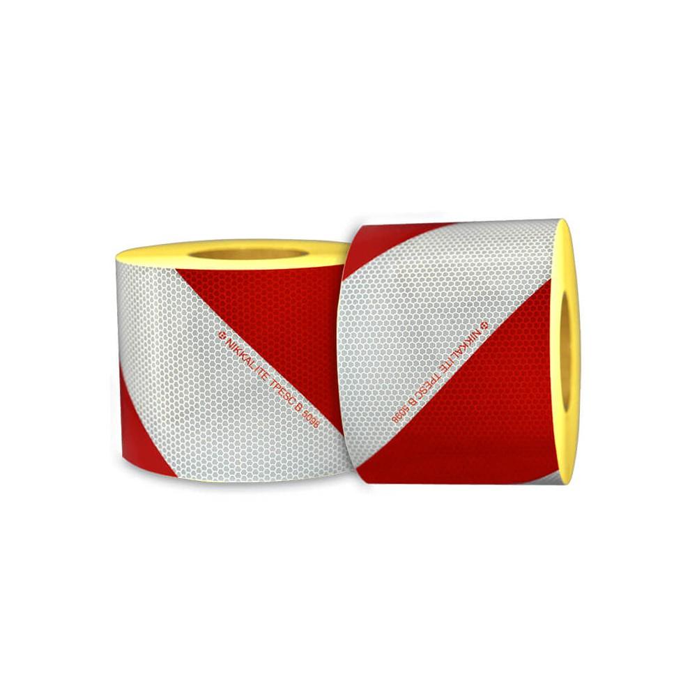 Bande réfléchissante à chevrons blanc et rouge pour véhicule d'intervention