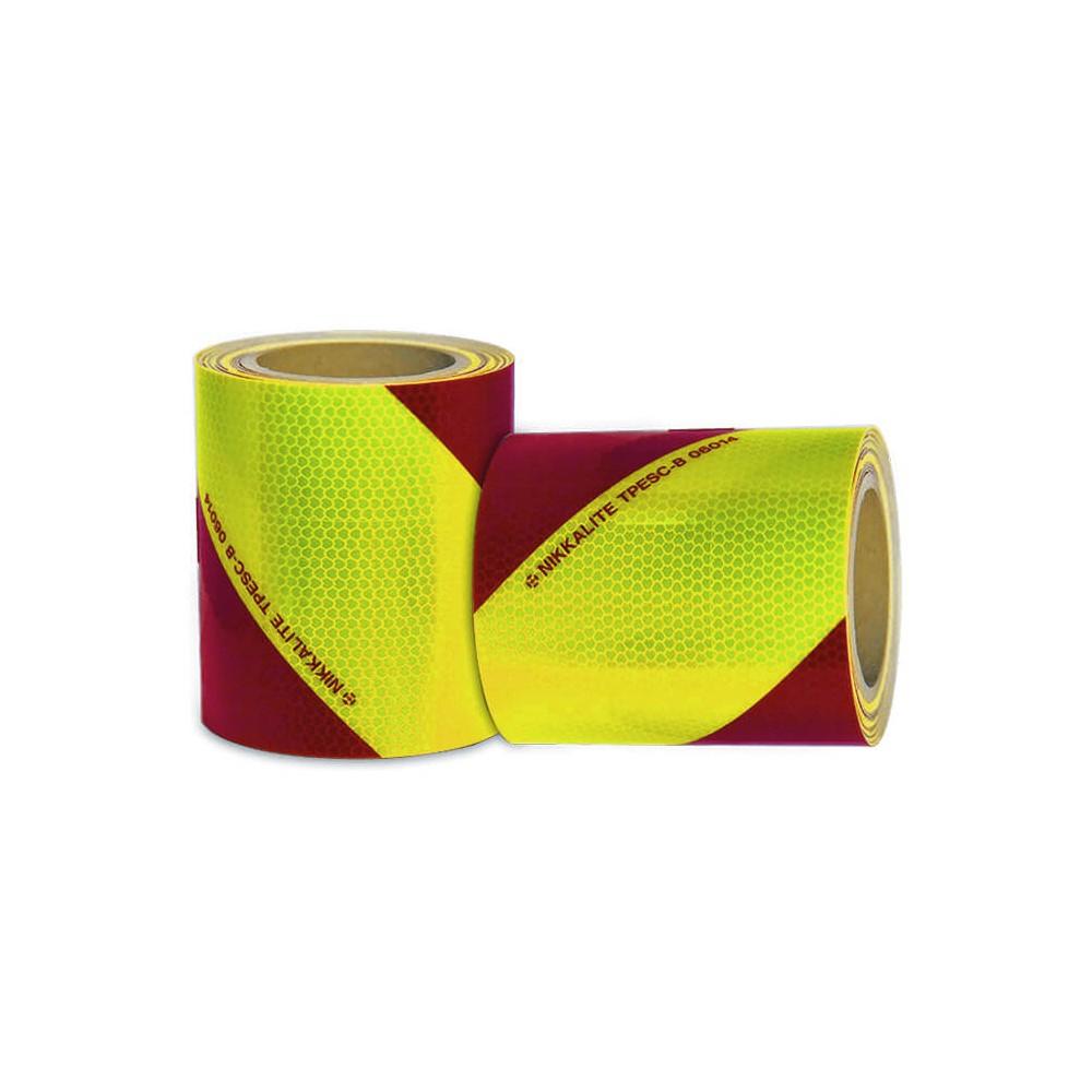 Bande réfléchissante à chevrons jaune et rouge pour véhicule d'urgence