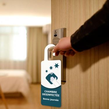 Accroche-porte indiquant une pièce à désinfecter