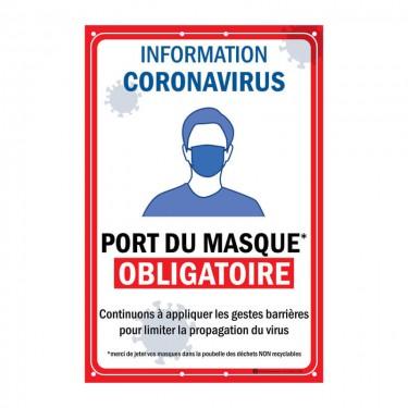 Panneau Port du masque obligatoire en Akilux grand format