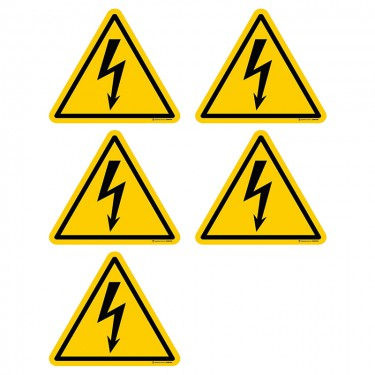 Autocollants Danger électricité ISO 7010 W012 - Lot de 5