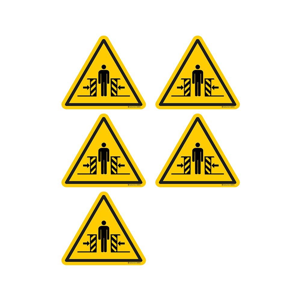 Autocollants Danger écrasement ISO 7010 W019 - Lot de 5