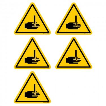 Autocollants Danger risque de coupure ou cisaillement - Lot de 5