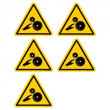 Autocollants Risque d'écrasement engrenage - Lot de 5