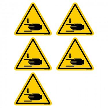 Autocollants Danger écrasement des mains ISO 7010 W024 - Lot de 5