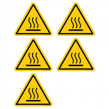 Autocollants Danger surface chaude ISO 7010 W017 - Lot de 5