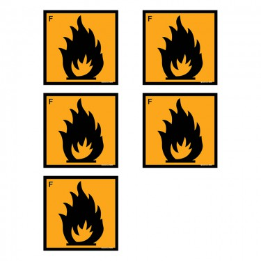 Autocollants Facilement inflammable - Lot de 5