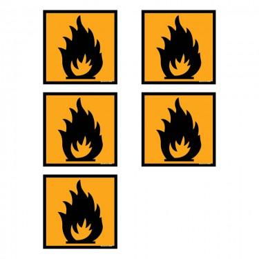 Autocollants Inflammable - Lot de 5