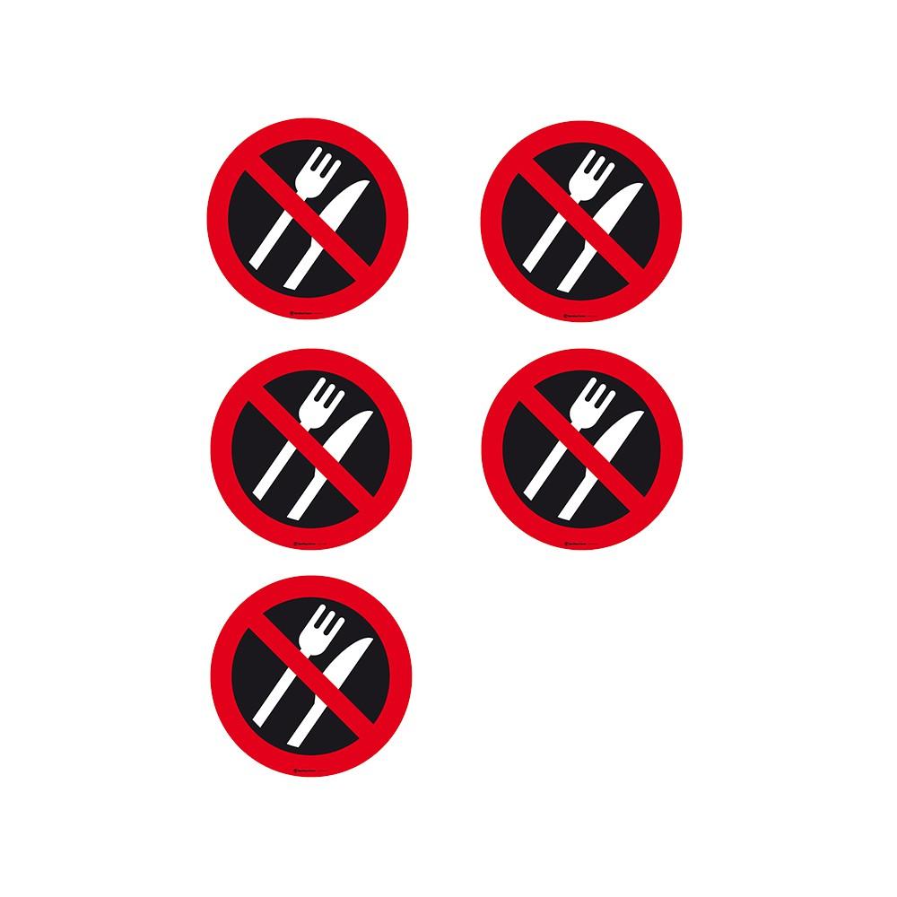 Autocollants Interdiction de manger - Lot de 5