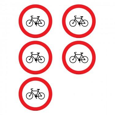 Autocollants Interdit aux vélos - Lot de 5