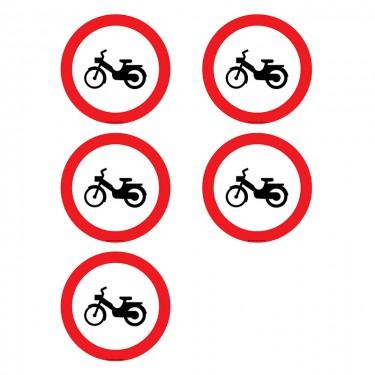 Autocollants Interdit aux cyclomoteurs  - Lot de 5