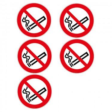 Autocollants Interdiction de fumer ISO 7010 P002 - Lot de 5