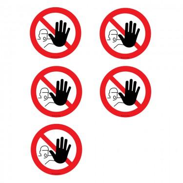 Autocollants Entrée interdite aux personnes non autorisées - Lot de 5