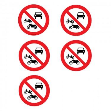 Autocollants Interdit à tous les véhicules à moteur - Lot de 5