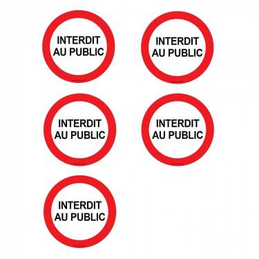 Autocollants Interdit au public - Lot de 5
