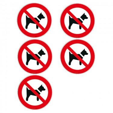 Autocollants Interdit aux chiens ISO 7010 P021 - Lot de 5