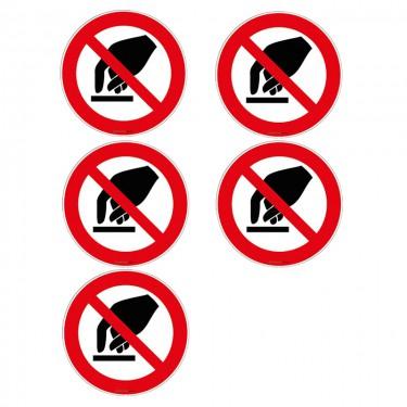 Autocollants Interdiction de toucher ISO 7010 P010 - Lot de 5