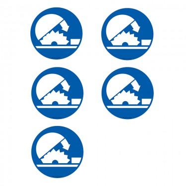 Autocollants Fermeture de la scie obligatoire - Lot de 5
