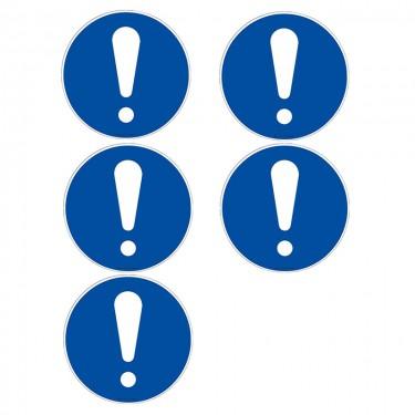Autocollants Obligation signal général ISO 7010 M001 - Lot de 5