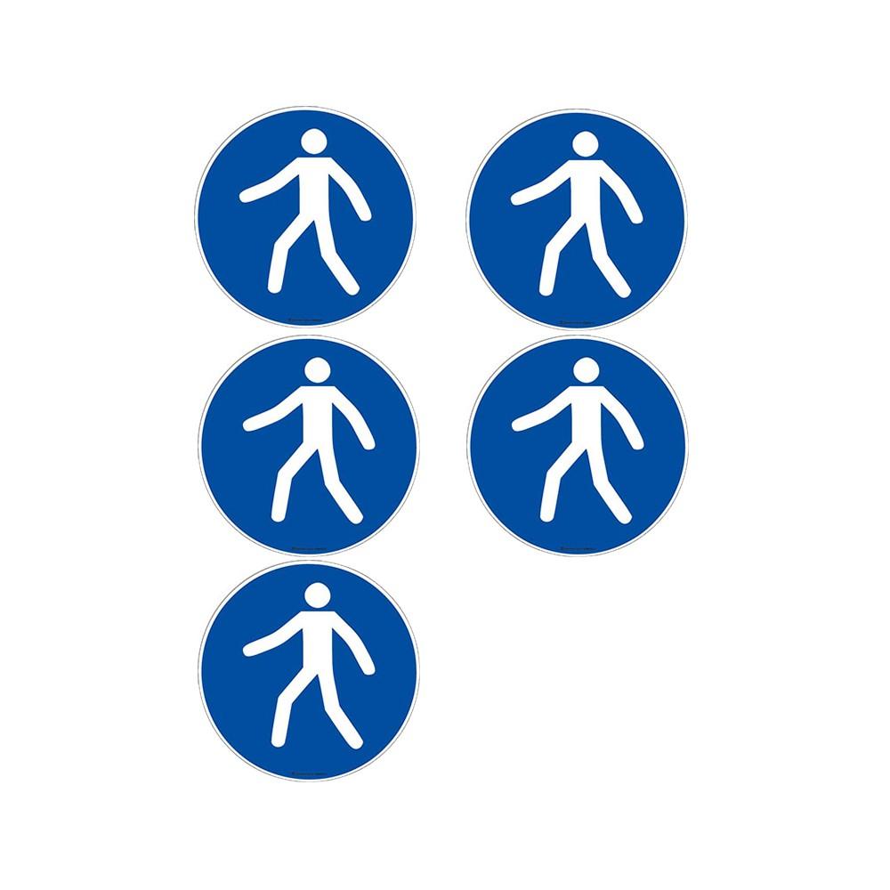 Autocollants Obligation utiliser le passage piétons ISO 7010 M024 - Lot de 5