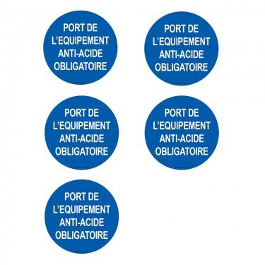 Autocollants Port de l'équipement anti-acide obligatoire - Lot de 5