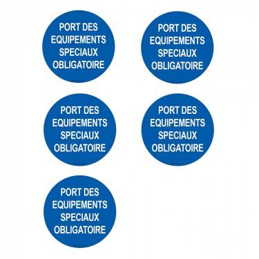Autocollants Port des équipements spéciaux obligatoire - Lot de 5