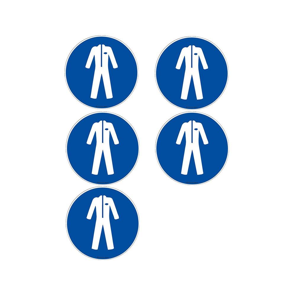 Autocollants Vêtement de protection obligatoire ISO 7010 M010 - Lot de 5